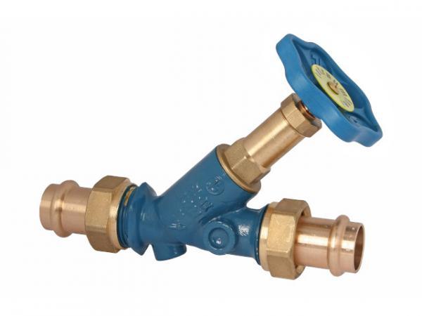 Freistromventil, Serie Blue-tec, mit Pressanschluss (Außengewinde) MULTI, ohne Entleerung, mit nicht steigender Spindel, DN25, Pressdurchmes