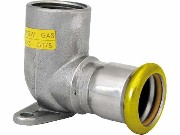 Edelstahl Pressfitting Gas Deckenwinkel 90° mit IG, 15x1/2