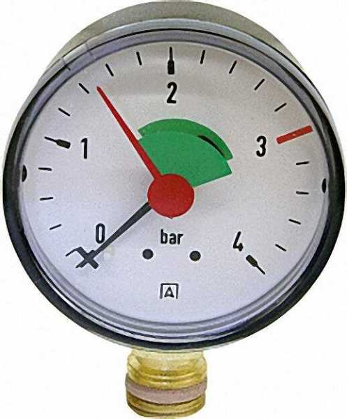 Heizungsmanometer radial 63mm durch, 3/8''