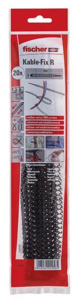 Fischer Kabelbinder Kable-Fix R, wiederverwendbar Schwarz
