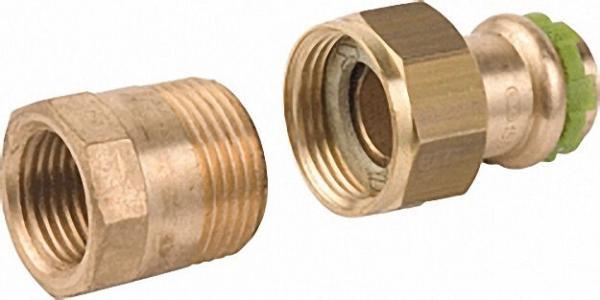 Rotguß Pressfitting Rohrverschraubung mit IG flach dichtend P 4330 G 18x3/4