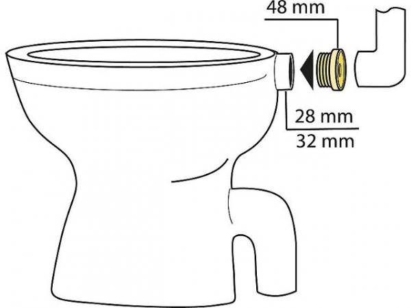 Gummi-Winkel-Sp/ülrohrverbinder hell f/ür Euro-WC D=55mm Drucksp/ülrohr D=28-32mm