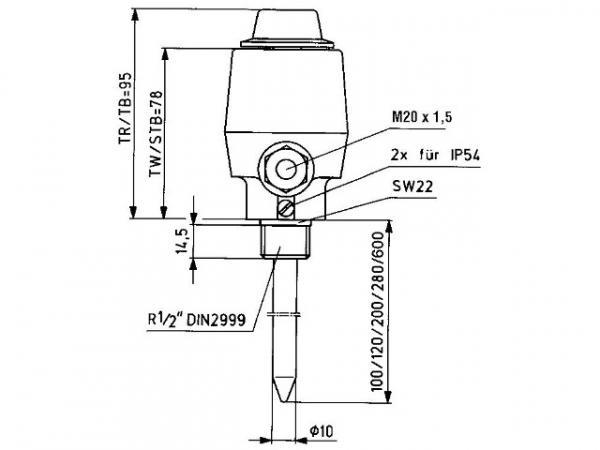 ALRE Tauchthermostat Kessel- Regler 80.001-5, +35…+95°C, 5K, 200, Außeneinstellung/TR