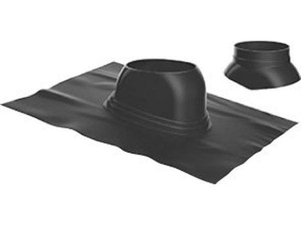 Buderus Universal-Dachziegel, Ø 125 mm, 5 °–25 °, schwarz, Regenkappe, 7738112511
