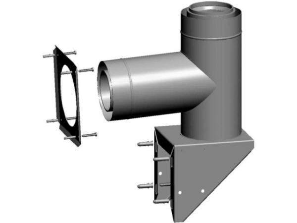WOLF 2651682 Außenwandkonsole DN80/125 für Luft-/Abgasrohr, aus Edelstahl/PP