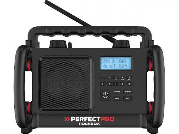 Baustellenradio Rockbox mit Akkus 1x10 W, UKW, DAB+, Bluetooth 3,8kg, 310x250x220mm