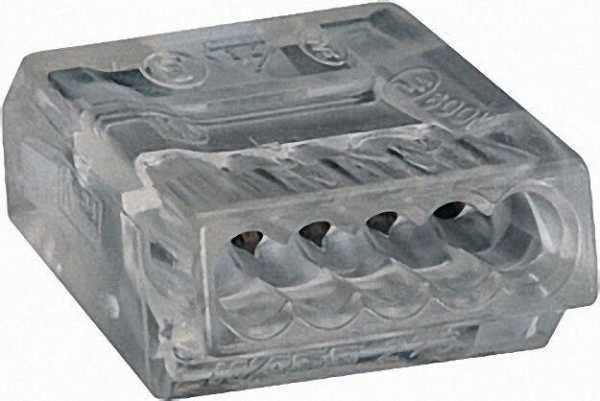 Verbindungsdosenklemmen 273 5-Leiter-Klemmen, transparent 5x0, 75-1,5mm², VPE=100