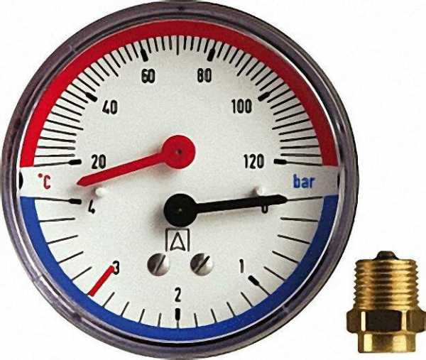 Watts Thermomanometer TM 80 axial 80mm durch, R 1/2'', 0-6 bar