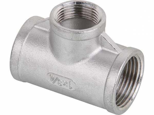 Edelstahl Gewindefitting T-Stück reduziert V4A 1 1/2'x3/4'