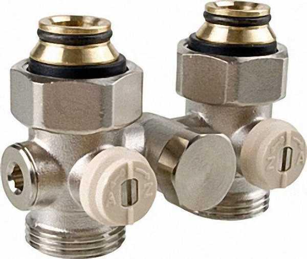 CALEFFI 301250 Doppelkugelhahnverschraubung Einrohrsystem 3/4'' IG By-Paß Durchgang mit Eurokonus