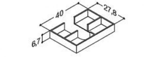 DANSANI 305230016 Kassette, 40 cm, Tiefe 27,8 cm