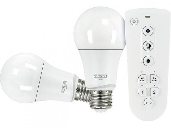 HOME4YOU Leuchtmittel-Set Schwaiger 2x LED E27 und Fernbedienung ZigBee