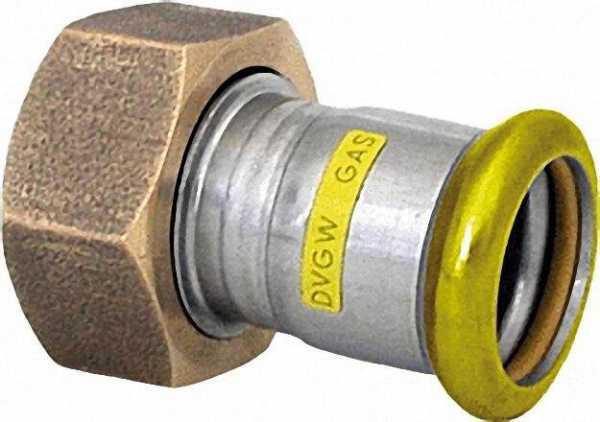 Edelstahl Pressfitting Gas Anschlussverschraubung mit HNBR-Flachdichtung, 18 x 3/4