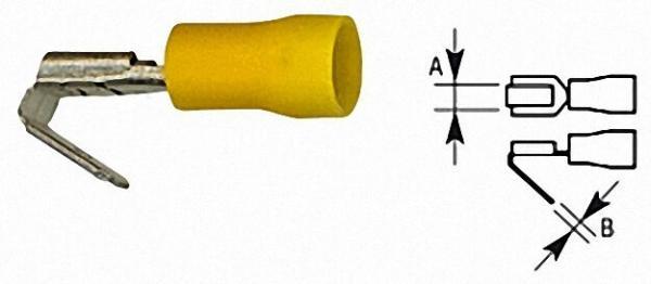 Flachsteckhülse mit Abzweigung isoliert, 4,0mm²-6,0mm², 6, 3 x 0, 8mm Farbe gelb, VPE = 100 Stück