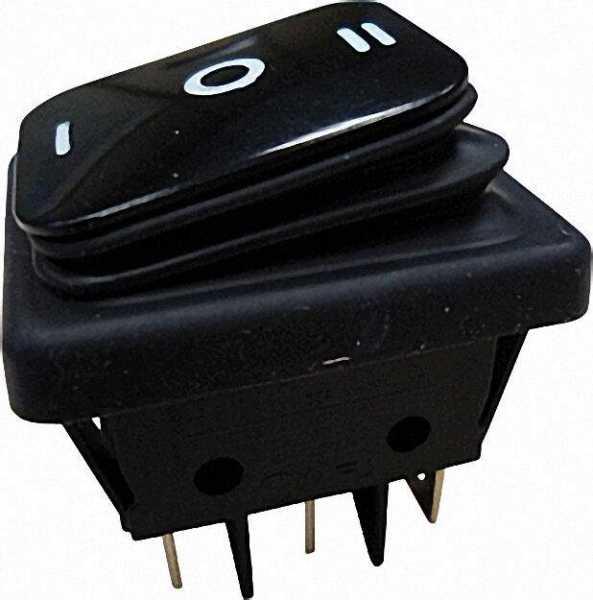 Einbau-Wippenschalter Umschalter, IP65 schwarz/schwarz, 1 Stück