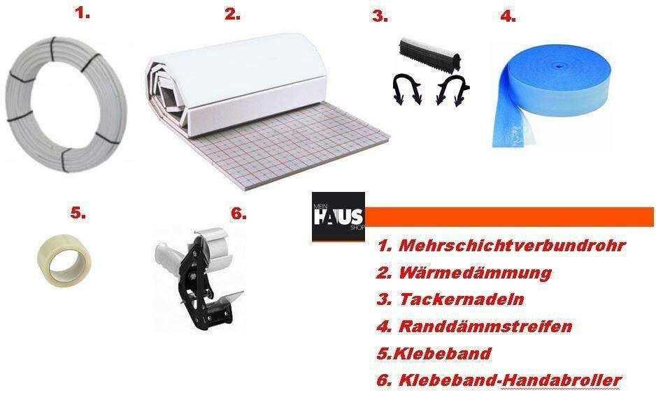 Fußbodenheizung-tackersystem Montageset mit Alu-Verbundrohr 90 qm