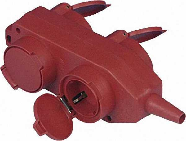 Schutzkontakt - Kupplung 4-fach, Farbe rot, mit Knickschutztülle