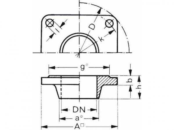 Buderus 5430746 Vorschweißflansch 50x57 vierkant 110