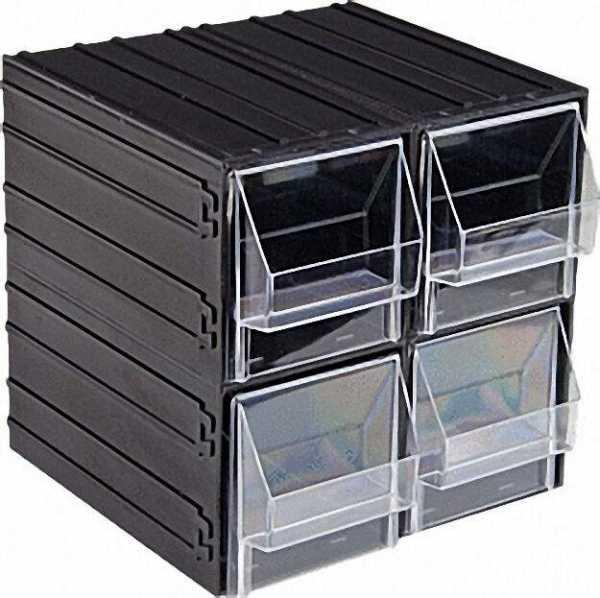 Lagerbox mit 4 Schubladen grau/transp. l=225mm, b=225mm, h=225mm Schubladen: l=101mm, b=198mm, h=103