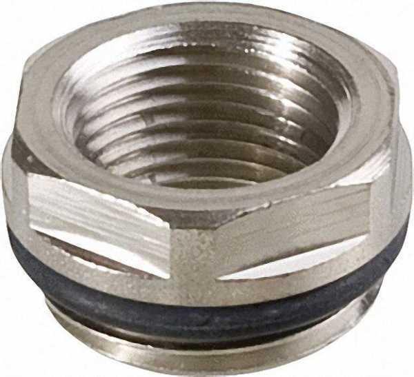 Reduzier-Stück 1/2''x 1/4'' Messing vernickelt mit O-Ring