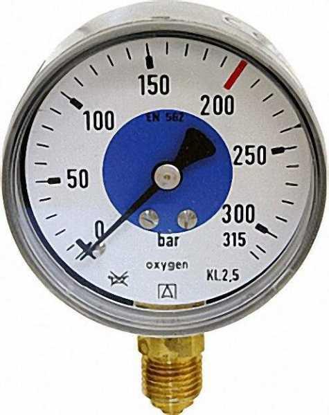 Manometer für Sauerstoff D63,0-40bar Anschluss R1/4'' verchr. Gehäuse Stahlblech schwarz mit Aufschr