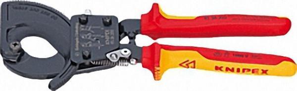 Kabelschneider Ratschenprinzip lackiert isoliert mit zweifarbigen VDE Mehrkomponenten-Griffhüllen 28