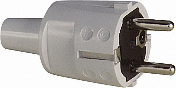 PVC Stecker mit Knickschutz mit 2 Erdungssystemen nach CEE 7/VII Grau