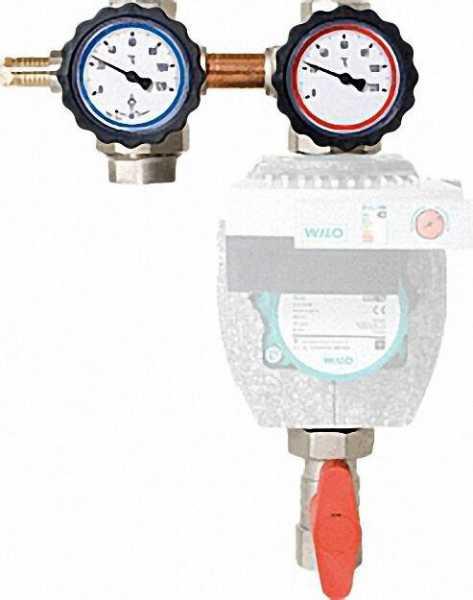 Heizkreisset 1'' mit Bypass Vorlauf rechts mit ÜWM und Thermometer rot/blau