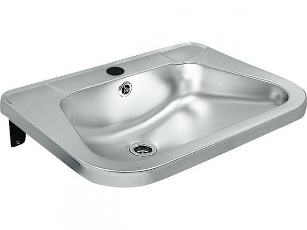 Einzel-Waschtisch Edelstahl mit Hahnloch d=35mm,+ Seifenablage, 560x420mm