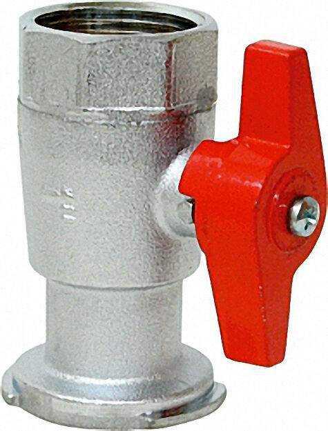 Pumpenflansch Kugelhahn 1'' mit Schwerkraftbremse vernickelt PN 16