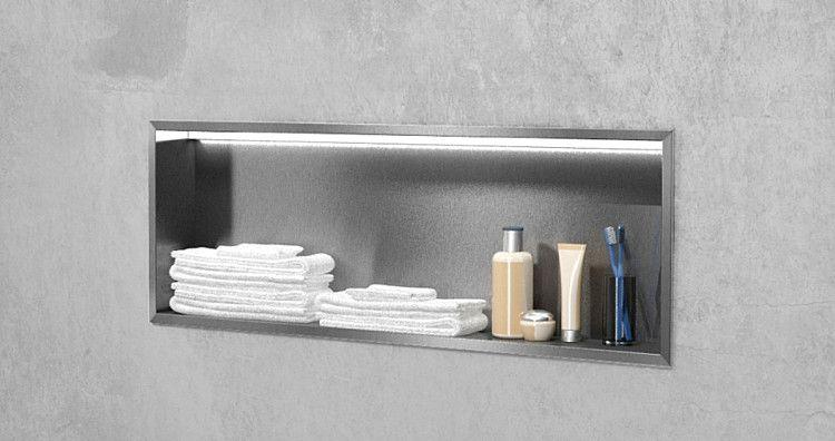 edelstahl wandeinbaunische mit led beleuchtung offen 900 x 300 mm. Black Bedroom Furniture Sets. Home Design Ideas