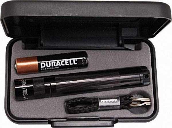 Stablampe Solitaire im Geschenketui, mit 1 Micro-Batterie Farbe: Schwarz