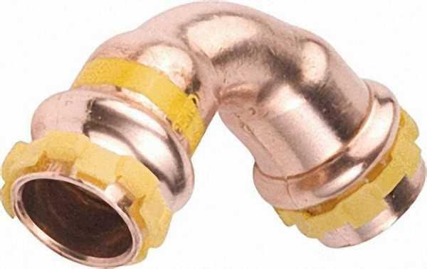 Kupfer Pressfitting Gas Bogen 90° D: 15mm PG 5002 Gas, i/i