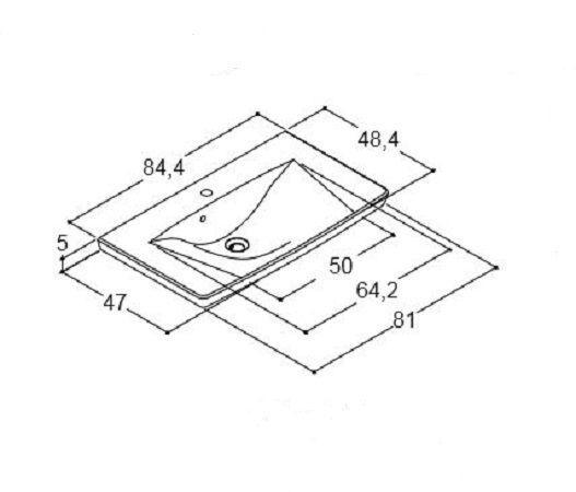 DANSANI 536608003 Porzellanwaschtisch Andante 84,4 cm