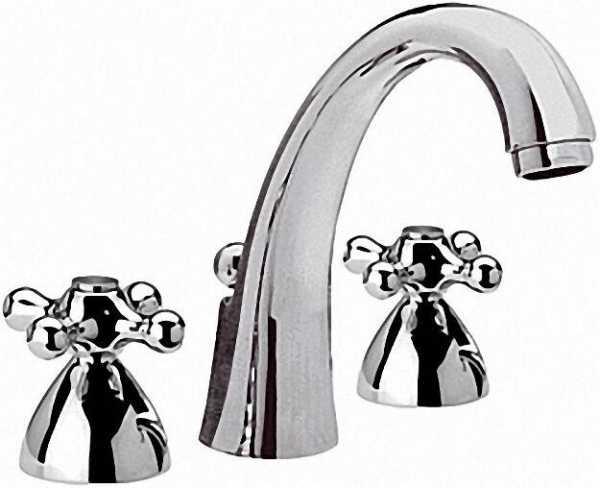 EVENES 3-Loch Waschtischmischer Serie Retro hohe Form mit Ablaufgarnitur Höhe 160mm