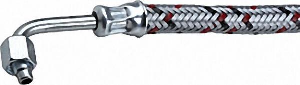 Ölschlauch einerseits 3/8'' Überwurfmutter, anderseits Rohrbogen 90 SR 6 LLR 1250 lg. Körting