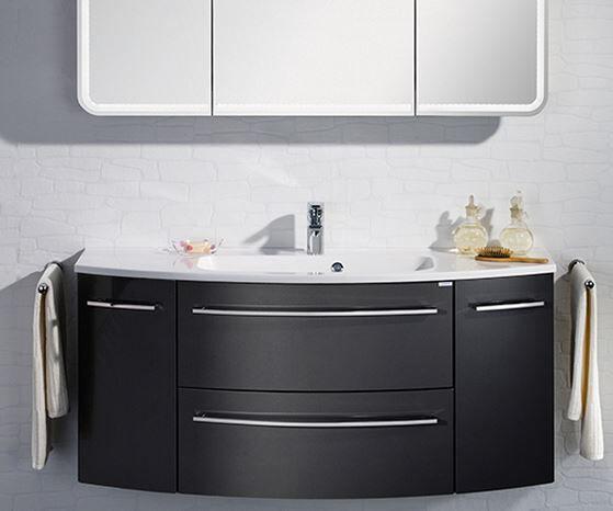 LANZET 7227712 S2 Waschtischunterschrank,140X63X45cm,Weiß/Grafit,2 Schubladen