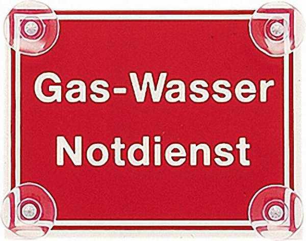 Schild Gas-Wasser Notdienst 190 x 150mm