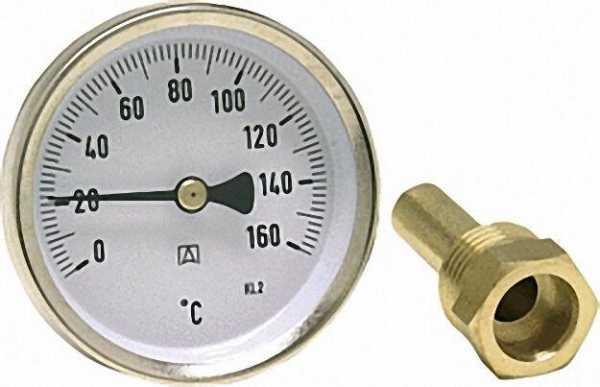 Bimetall-Thermometer Solar BiTh 63 0/160°C 45mm 1/2'' AX Kl,2 blau