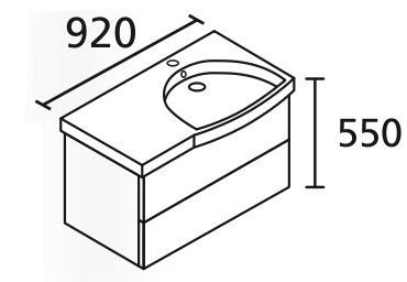 LANZET 7404212 K3 Waschtischunterschrank: 88/48/47 rechts Dekor Dark Oak, 2 Schubladen