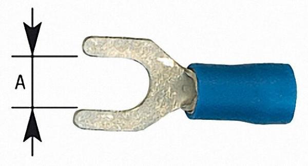 Kabelschuh in Gabelform isoliert, 2,5mm², 5, 3mm Farbe blau, VPE = 100 Stück