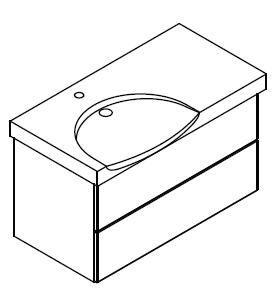LANZET 7410112 K3 Waschtischunterschrank: 88/48/33,5 links Dekor Dark Oak, 2 Schubladen