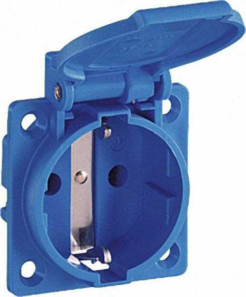 Einbausteckdose Blau IP54 mit Flanschbefestigung Anschluss waagerecht