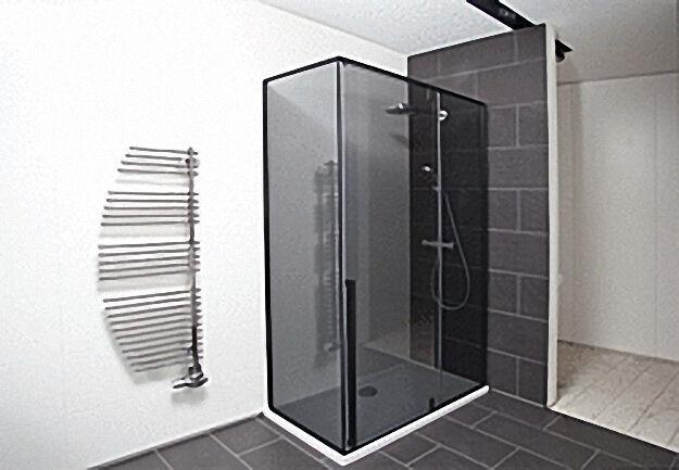 Eck-duschkabine, Eingang 680mm, Tür+Seitenwand links, Fixteil rechts,