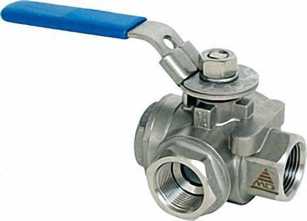 3-Wege-Muffenkugelhahn aus Edelstahl Werkstoff 1.4408 PN 64 1 1/2'' Typ A 730 TT