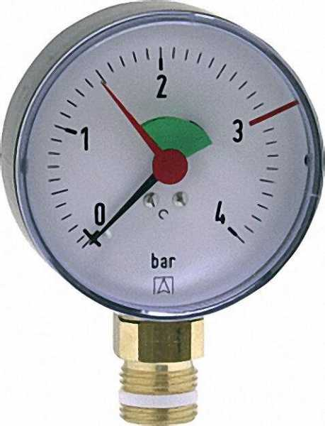 Heizungsmanometer radial 80mm durch, 1/2''