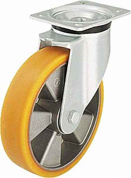 BLICKLE Schwerlastlenkrolle Polyurethan/Stahl LK-ALTH 125K-3, Tragfähigkeit 250 kg Rad D= 125mm, Pla