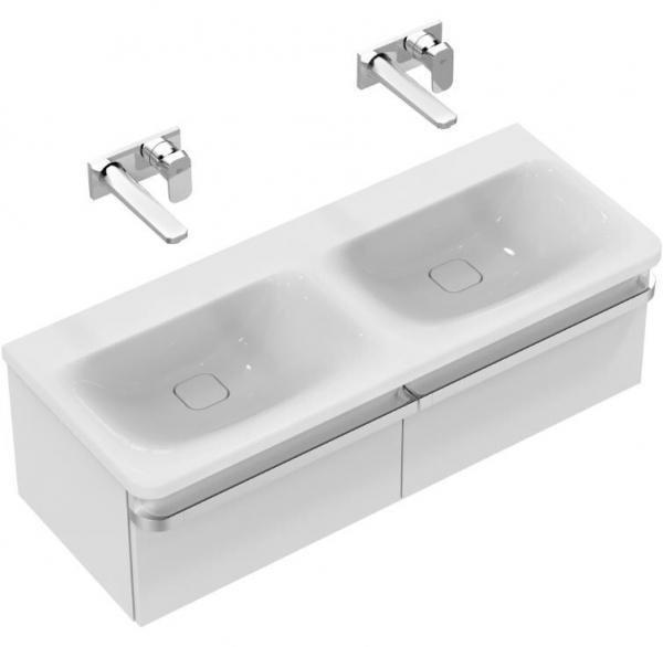 IDEAL STANDARD K0871MA Tonic II Möbel-Doppelwaschtisch 1215 mm (ohne Hahnloch),weiß/Ideal Plus