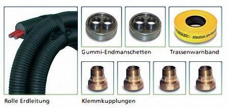 """Doppellrohr-Fernwärmeleitung Set für Heizung, Flexalen 600, 2x40 (1 1/4"""")/DN32, Manteldurchmesser 160mm"""
