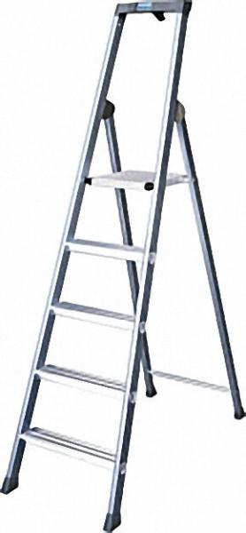 Stufen-Stehleiter, eloxiert Arbeitshöhe bis ca. 2,85 m Vier Stufen